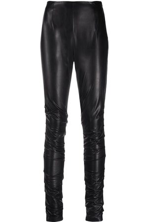 Dorothee Schumacher Women Leggings - Leather-effect ruched leggings