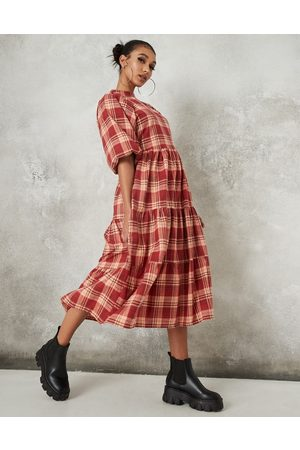 Missguided Puff sleeve midi smock dress in red check