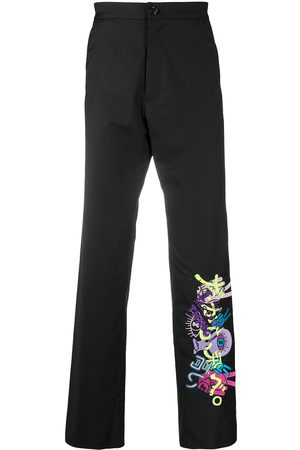 DUOltd Embroidered virgin wool-blend trousers