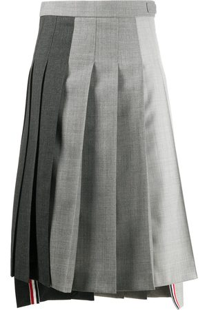 Thom Browne Fun-Mix pleated dropped back skirt