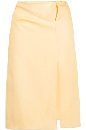 Jacquemus High-waisted linen midi skirt