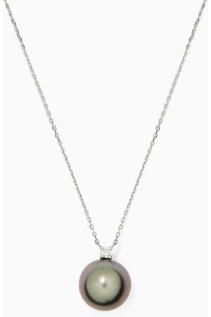 Robert Wan Women Necklaces - Pearl Pendant with Diamond in 18kt White Gold