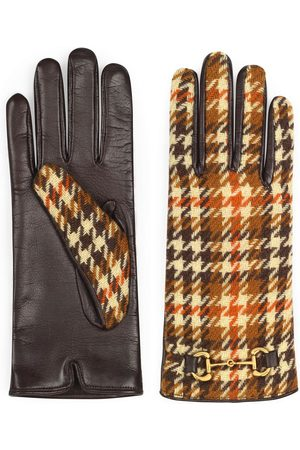 Gucci Men Gloves - Houndstooth-pattern Horsebit gloves