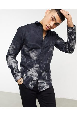 Twisted Tailor Skinny shirt with faded smoke print in