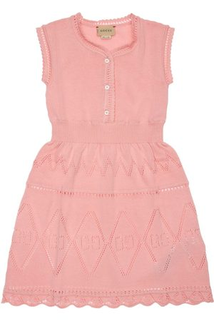 Gucci Girls Knitted Dresses - All Over Logo Cotton Knit Dress