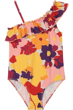 Il gufo Girls Swimming Costumes - Ruffled floral swimsuit