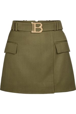 Balmain Exclusive to Mytheresa – Belted wool miniskirt