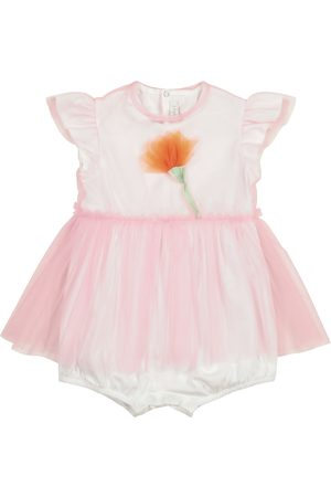 Il gufo Baby tulle and cotton playsuit