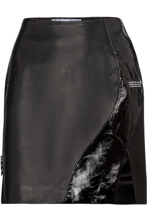 OFF-WHITE High-rise leather miniskirt
