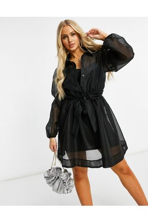Missguided Organza shirt dress with long sleeve in