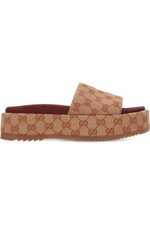 Gucci 60mm Angelina Gg Canvas Wedges