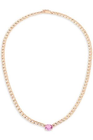 Anita 18K Rose Gold & Pink Sapphire Chain Link Necklace