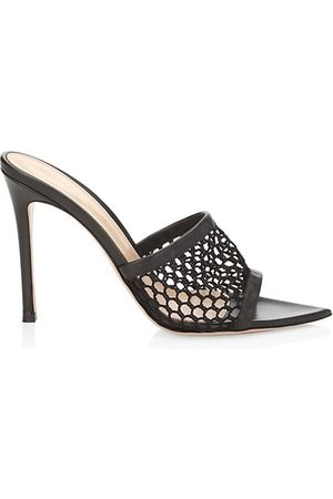 Gianvito Rossi Ruby Rose Mesh Leather Mules