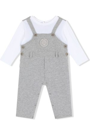 Dolce & Gabbana Kids Dungarees-style logo-patch romper