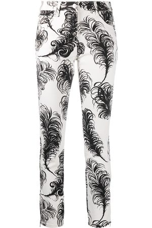 Moschino Feather print high-waisted trousers