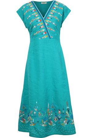 Ivko Linen Dress with Embroidery in Aqua SS21