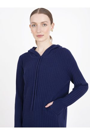 Cocoa Cashmere Essential Navy Ribbed Hoodie Jumper