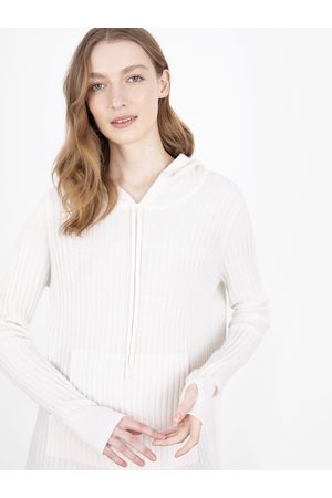 Cocoa Cashmere Women Jumpers - Essential Snow Ribbed Hoodie Jumper