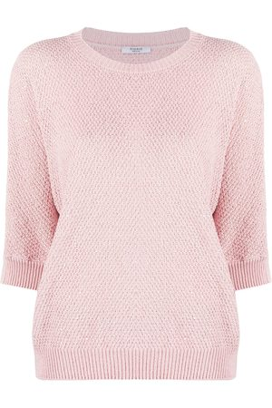 PESERICO SIGN Sequin-embellished half-sleeved knitted top