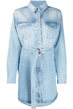 OFF-WHITE Arrows floral-embroidered denim shirtdress