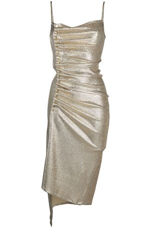 Paco rabanne Women Evenings Dresses - Metallic pleated dress with side-button ruched detail