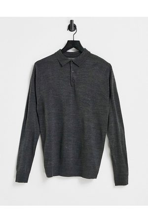 French Connection Long sleeve polo in dark
