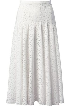 AKRIS Devoré Organza Dot Pleated A-Line Skirt
