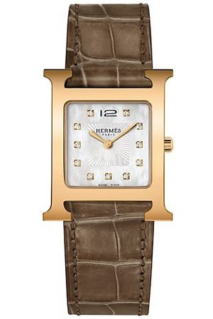 HERMÈS Watches - Heure H Diamond, Rose Goldplated Steel & Alligator Strap Watch