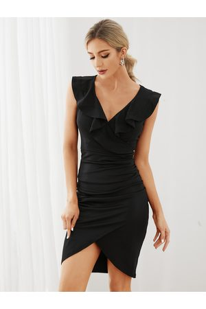 YOINS Sexy Ruffle Trim Wrap Design High-Waisted Bodycon Dress