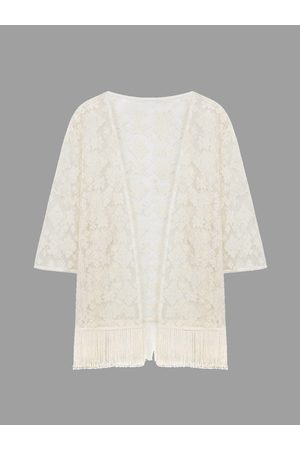YOINS Lace Embroiderd Kimono With Tassels