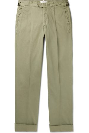Saman Amel Men Chinos - Pleated Stretch-Cotton Chinos