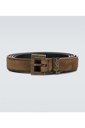 Saint Laurent Monogrammed suede belt