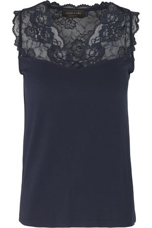 Rosemunde Women Strapless Tops - 4812 Sleeveless Top With Lace Trim - 435 Navy