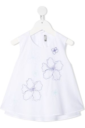 Il gufo Floral-embroidered sleeveless blouse