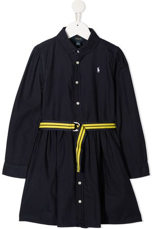 Ralph Lauren Girls Casual Dresses - Polo Pony embroidered shirt dress