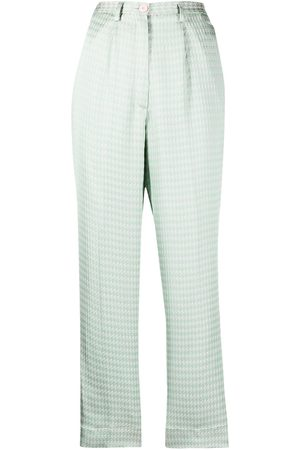 FORTE FORTE High-rise houndstooth-print cropped trousers