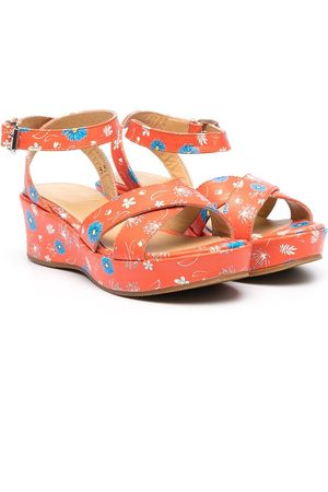 GALLUCCI Floral-print leather sandals