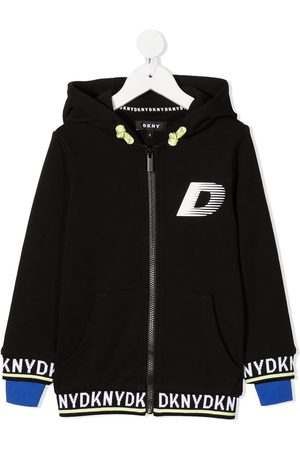 DKNY Chest logo hooded zip-up