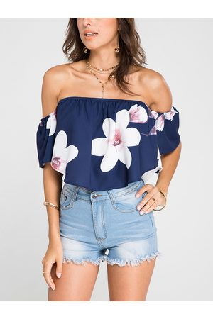YOINS Navy Off-The-Shoulder Random Floral Print Crop Top