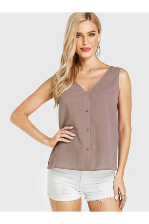 YOINS BASICS Camel Slit Design V-neck Sleeveless Tank Top