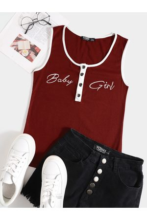 YOINS Deep V Neck Knit Letter Button Design Sleeveless Cami