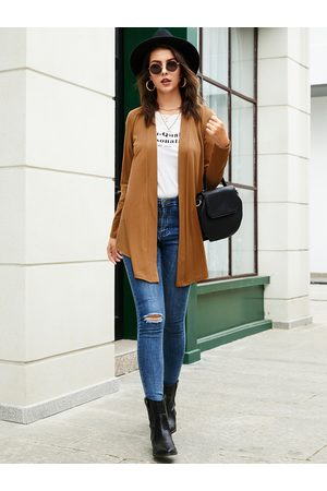 YOINS BASICS Brown Casual Open Front Long Sleeves Cardigan
