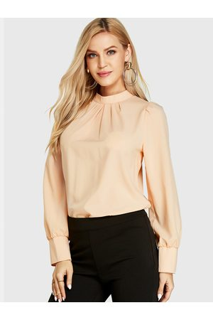 YOINS BASICS Beige Pleated Design Stand Collar Long Sleeves Blouse