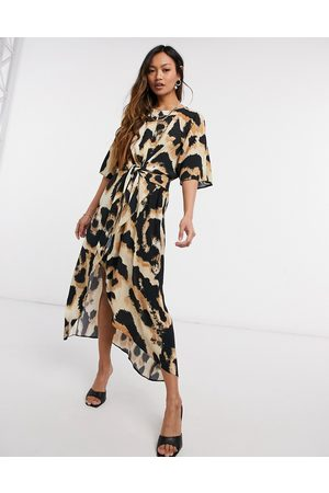 River Island Leopard knot front wrap midi dress in
