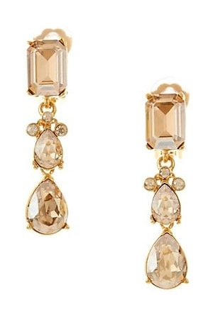 Oscar de la Renta Swarovski Crystal Classic Small Drop Clip-On Earrings