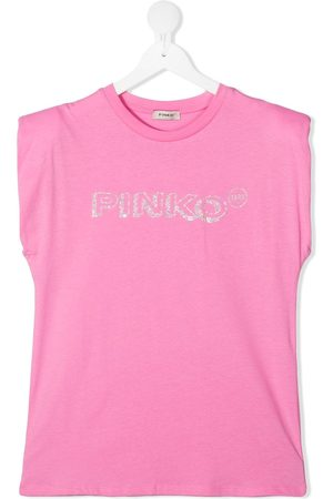 Pinko Kids TEEN rhinestone-logo sleeveless top