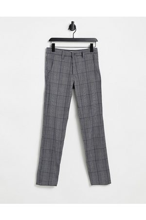 Selected Stretch jersey smart trousers in slim fit check