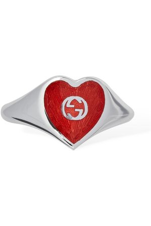 Gucci Women Rings - Interlocking G Enamel Heart Ring