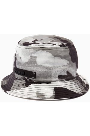 Dolce & Gabbana Camouflage Bucket Hat with Patch in Cotton Twill