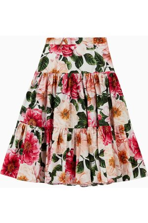 Dolce & Gabbana Women Maxi Skirts - Camellia Cotton Poplin Long Skirt